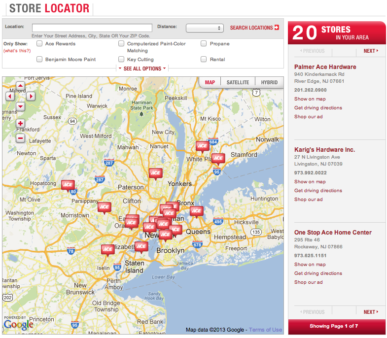 pages store locator